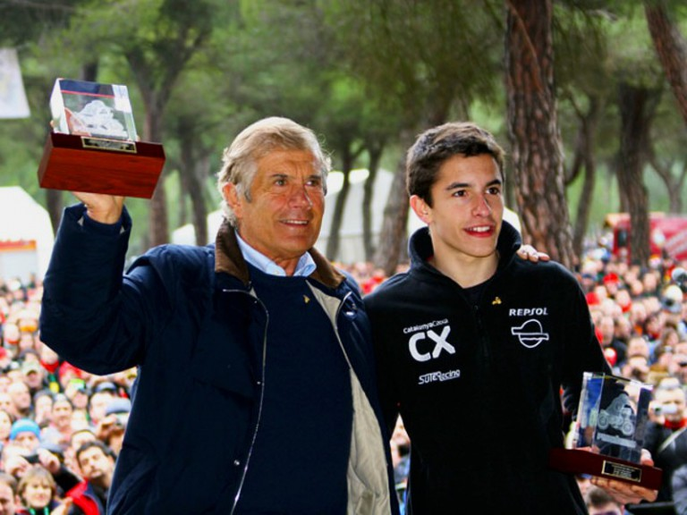 Giacomo Agostini and Marc Marquez at the Pingüinos 2011 Festival