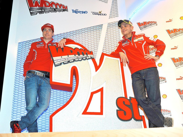 Nicky Hayden and Valentino Rossi at Wrooom 2011