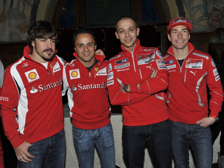 Scuderia Ferrari drivers Fernando Alonso and Felipe Massa meet up with Ducati team riders Valentino Rossi and Nicky Hayden