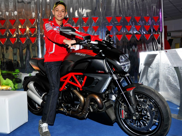 Valentino Rossi on the Ducati Diavel at Madonna di Campiglio
