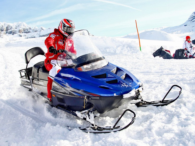 Nicky Hayden rides snowmobiles at Madonna di Campiglio