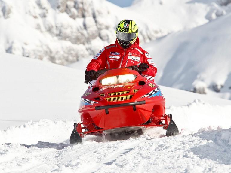Valentino Rossi rides snowmobiles at Madonna di Campiglio