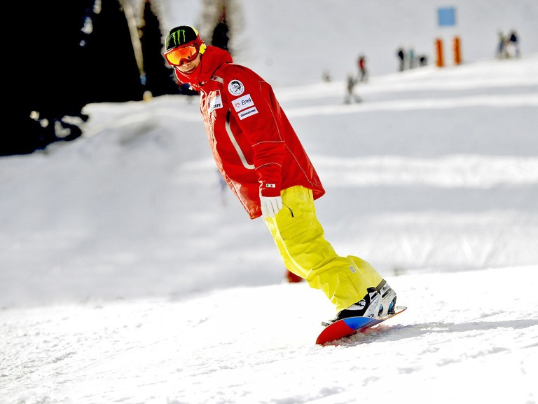 Valentino Rossi enjoys snowboarding at Ducati 2011 Wrooom event