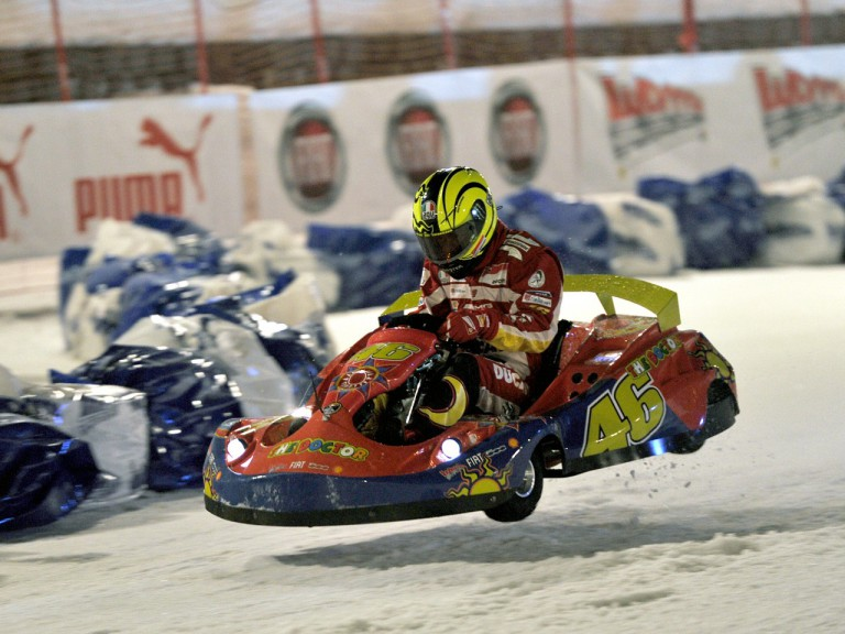 Valentino Rossi takes part in ice kart race at Wrooom