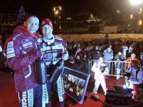 Valentino Rossi and Nicky Hayden at the Wrooom closing ceremony