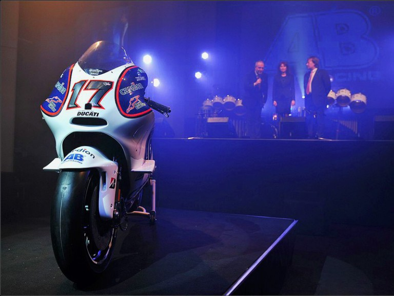 The Cardion AB Motoracing bike at the team presentation. Photo by Antonin Kratochvil