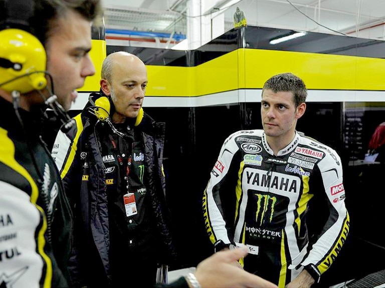 Cal Crutchlow in the garage at the MotoGP test in Valencia