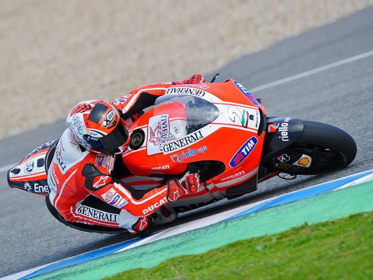 Franco Battaini testing Desmosedici GP11 at Jerez