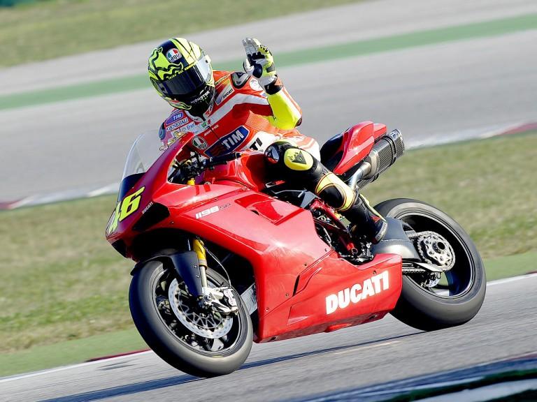 Valentino Rossi testing a Ducati 1198 in Misano