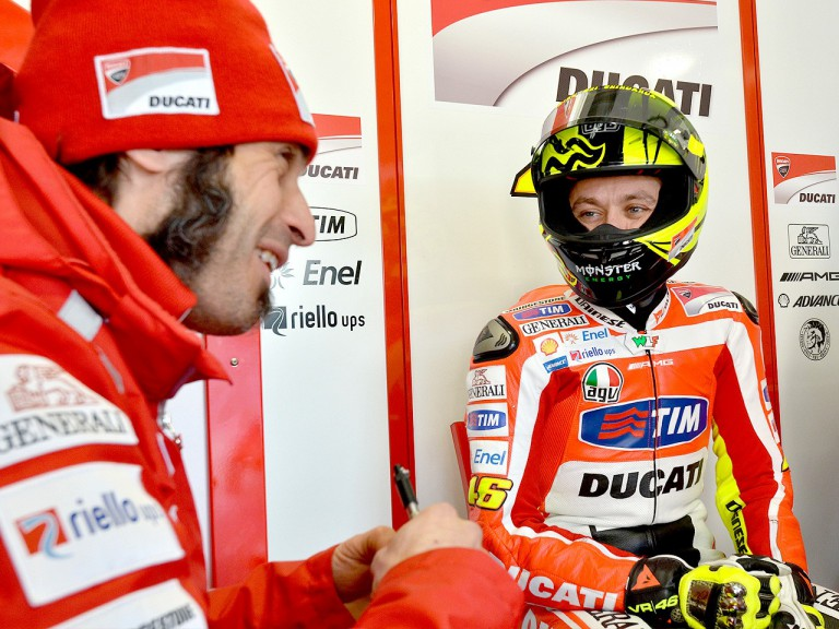 Valentino Rossi at the garage in Misano test