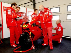 A Ducati 1198 prepared for Valentino Rossi at Misano