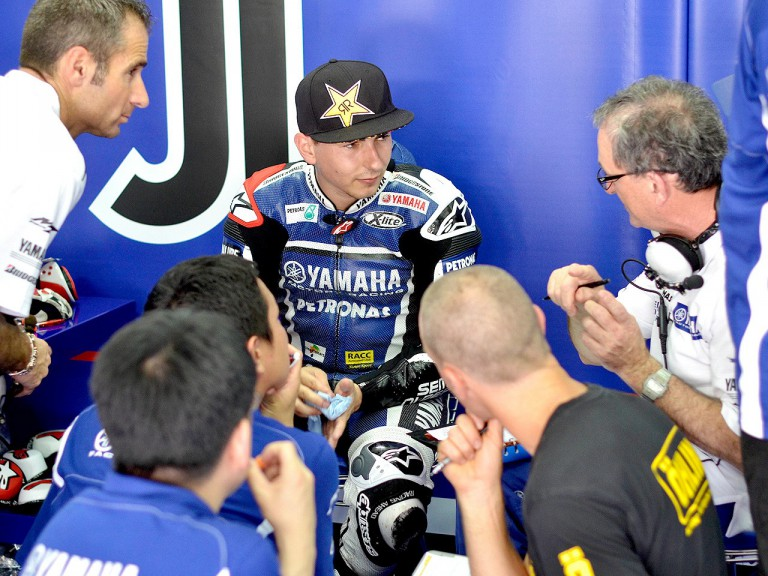 Jorge Lorenzo in the garage at the Sepang test