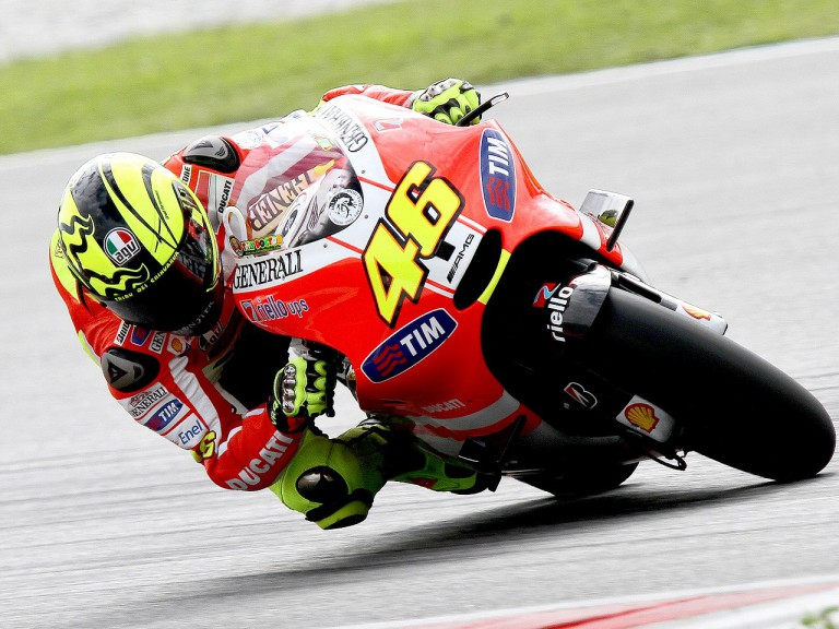 Valentino Rossi in action at Sepang test