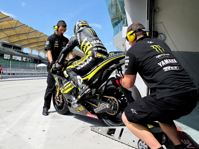 Cal Crutchlow in the pit at the Sepang test