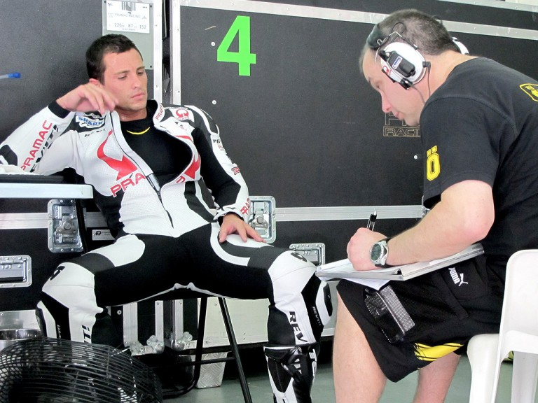 Randy de Puniet in the Pramac Racing garage at the Sepang test