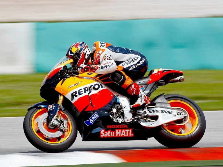 Andrea Dovizioso in action at Sepang test