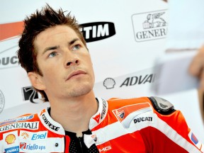 Nicky Hayden in the Ducati garage at the Sepang test