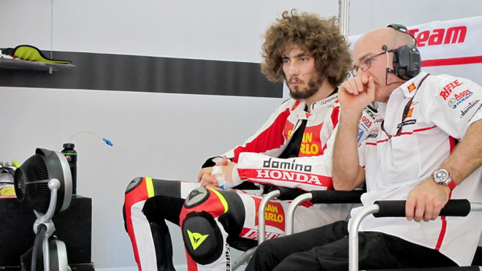 Marco Simoncelli in the San Carlo Honda Gresini garage at the Sepang test