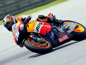 Dani Pedrosa in action at Sepang test