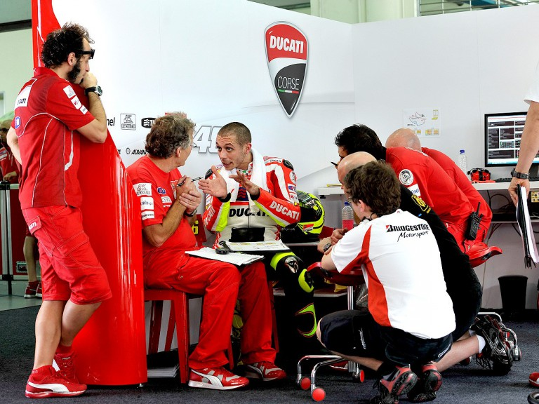 Valentino Rossi in the Ducati garage at the Sepang test