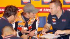 Casey Stoner in the Repsol Honda garage