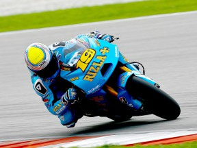Alvaro Bautista in action at the Sepang test