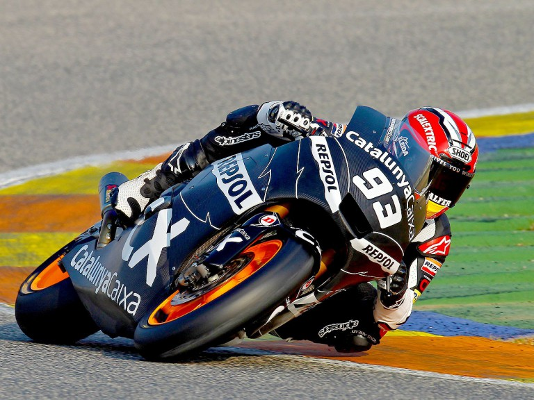 Marc Marquez in action at the Valencia test
