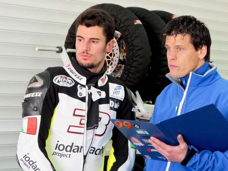 Simone Corsi in the garage at the Valencia test