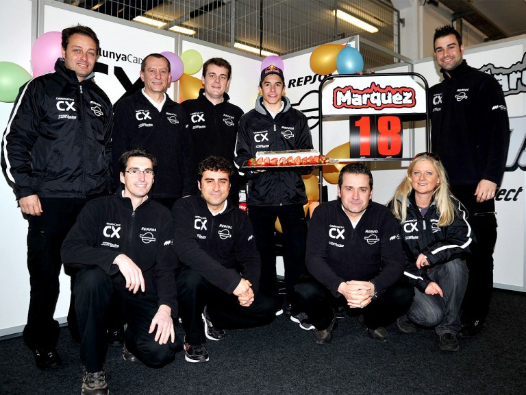 Marc Márquez and his team celebrate his 18th birthday