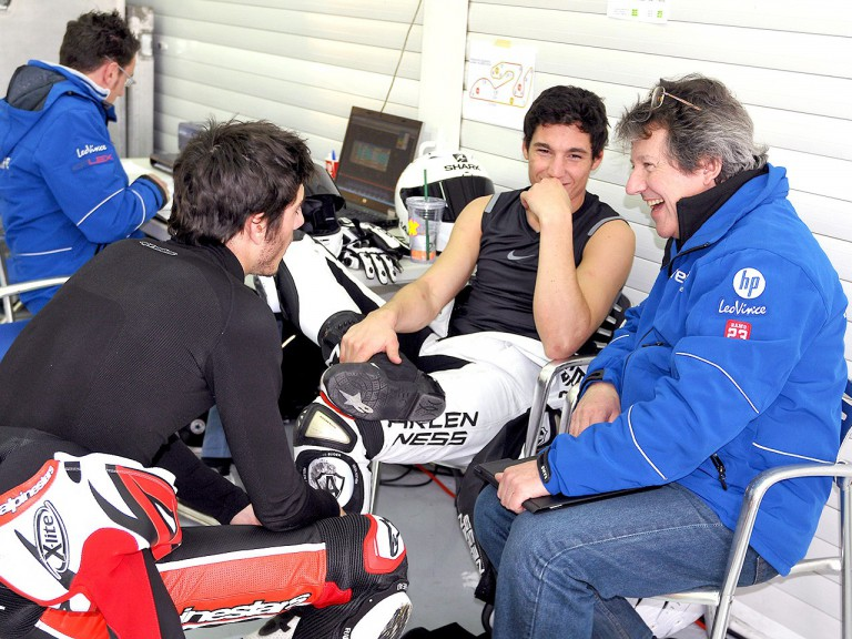 Axel Pons and Aleix Espargaró in the Pons Racing garage at the Estoril test
