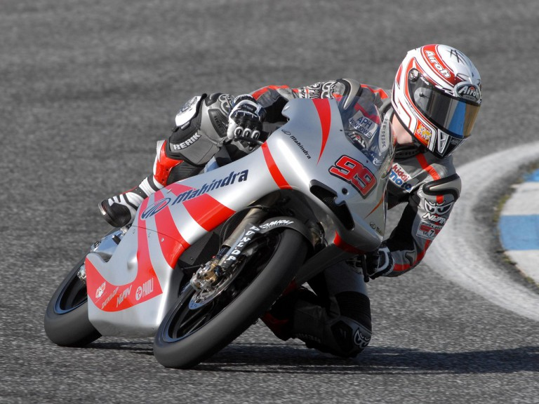 Danny Webb riding the Mahindra GP125 at Estoril