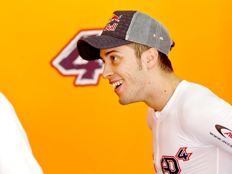 Andrea Dovizioso in the Repsol Honda garage during the Sepang test