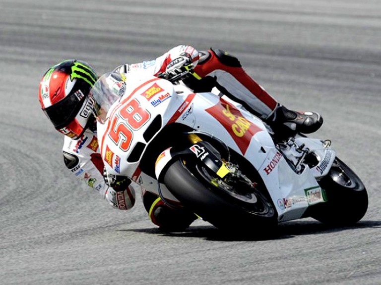 Marco Simoncelli in action in Sepang test