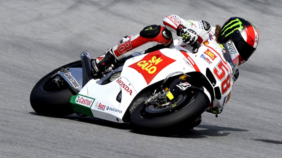 Marco Simoncelli in action at Sepang test
