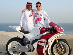 QMMF Racing Team riders Mashel Al Naimi and Ricky Cardus with their Moriwaki Moto2 machine