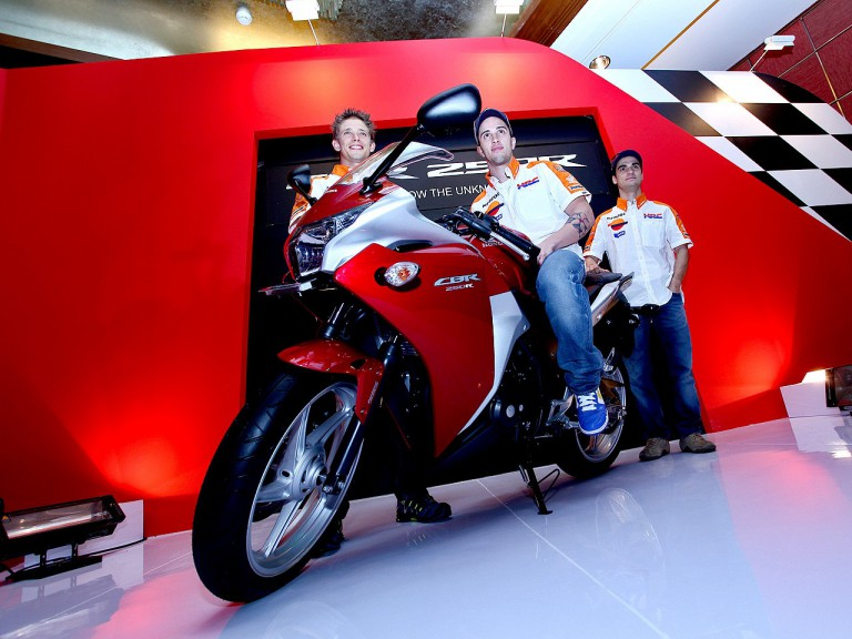 Stoner, Dovizioso and Pedrosa at the Honda CBR250R launch in Indonesia