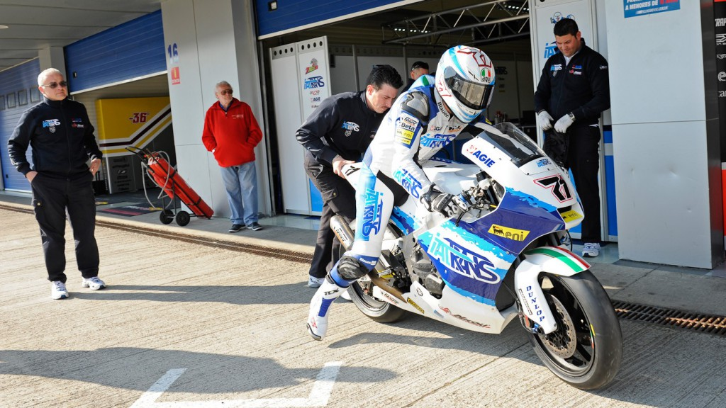 Claudio Corti pitting out in Jerez test