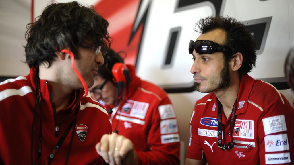 Vittoriano Guareschi with Filippo Preziosi at the Ducati Team garage