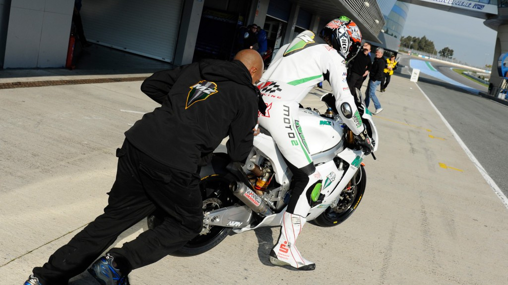 Max Neukirchner pitting out in Jerez test