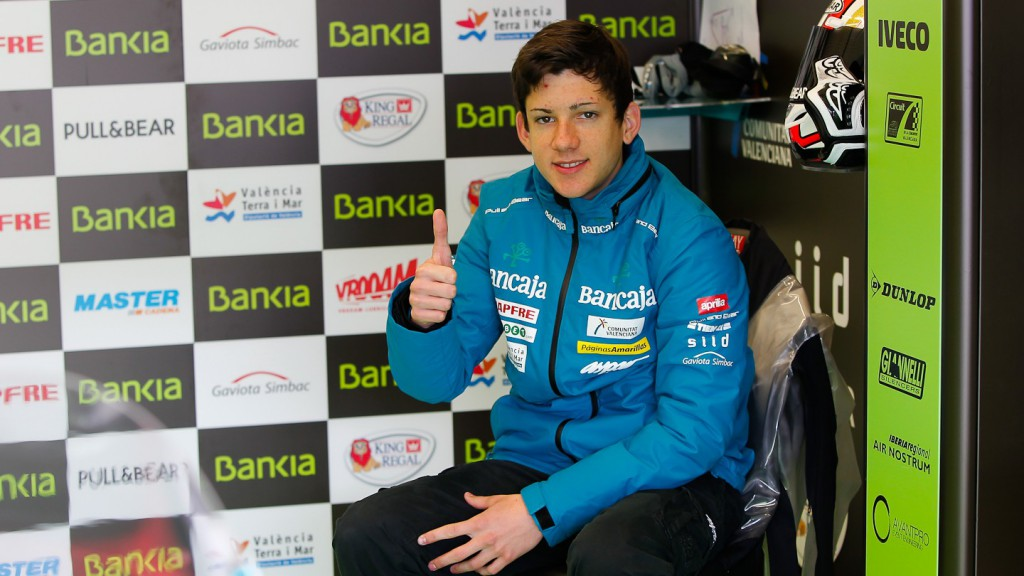 Adrian Martin in the Bankia Aspar Team garage