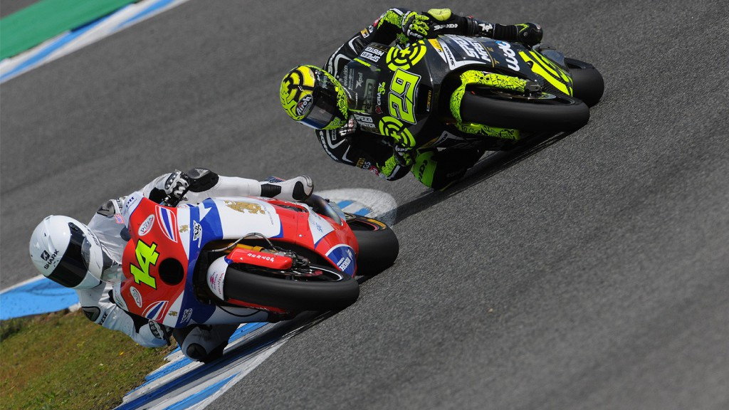 Wilairot and Iannone in action in the Jerez test