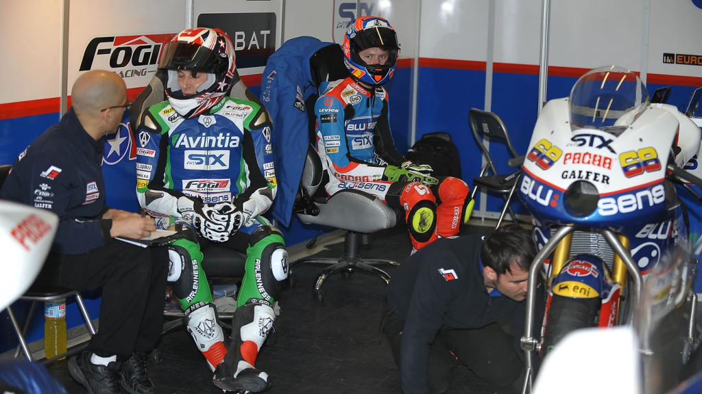 Kenny Noyes and Tito Rabat in the Avintia / Blusens STX garage