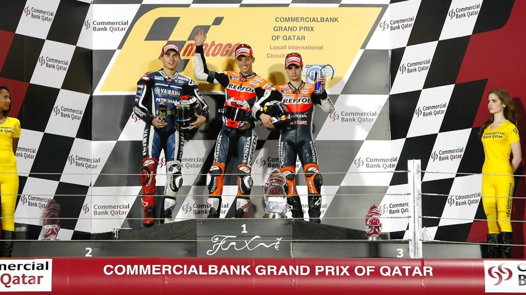 Lorenzo, Stoner, Pedrosa, Qatar Race