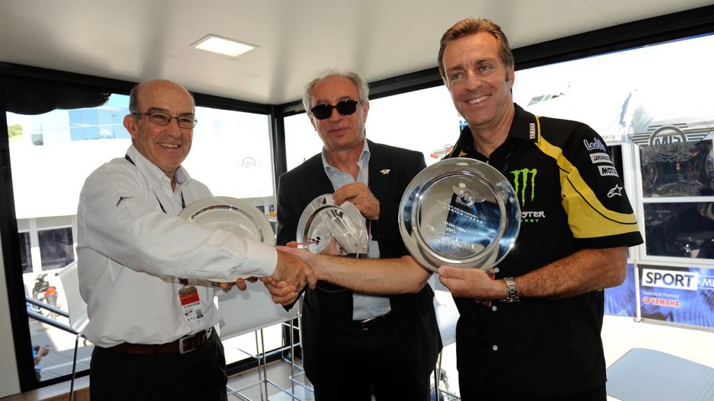 Carmelo Ezpeleta (Dorna Sports CEO), Vito Ippolito (FIM President), Hervé Poncharal (IRTA President), Jerez circuit