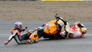 stoner and rossi after clashing in jerez