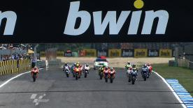 After a race long duel with fellow Spaniard, Jorge Lorenzo (Yamaha Factory Racing), Dani Pedrosa (Repsol Honda) raced to victory at the bwin Grande Prémio de Portugal and with it, claimed his first win at the Estoril circuit in any class. Third was Casey Stoner (Repsol Honda).