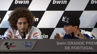 Lorenzo and Simoncelli exchange views in Estoril QP Press Conference