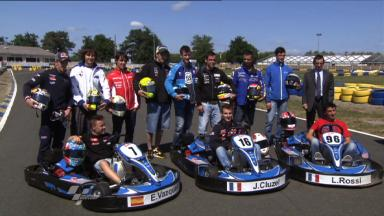 MotoGP riders enjoy kart race in le Mans