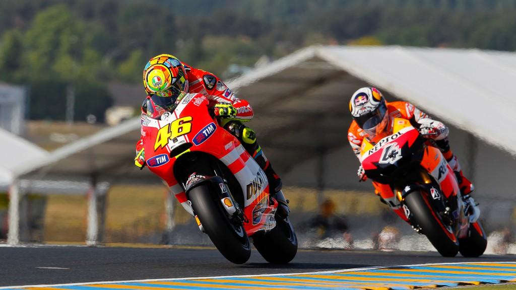 Valentino Rossi, Andrea Dovizioso, Ducati Team, Repsol Honda Team. Le Mans FP2