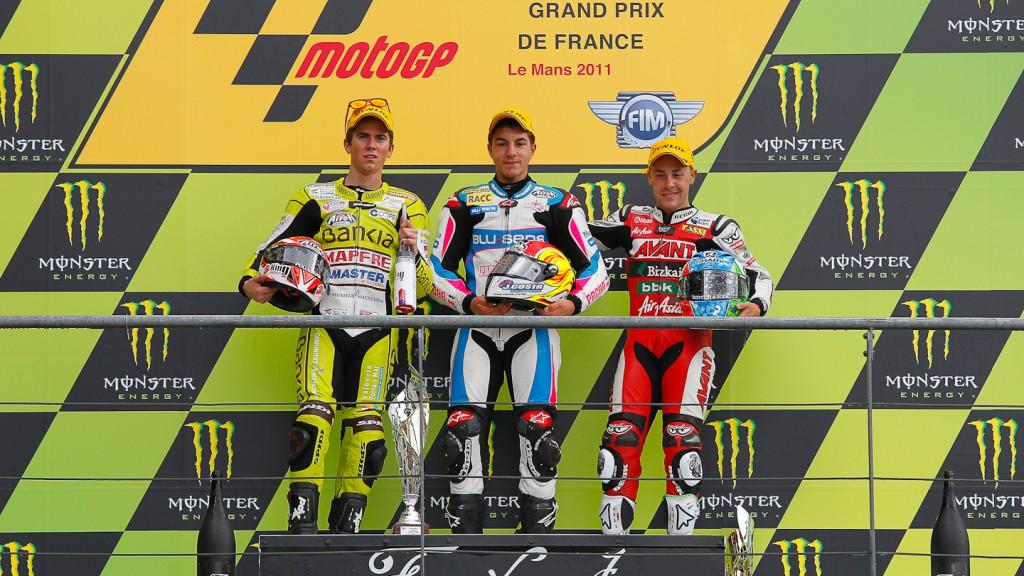 Nico Terol, Maverick Viñales, Efren Vazquez, Bankia Aspar Team, Blusens by Paris Hiliton, Avant AirAsia-Ajo, Le Mans RAC